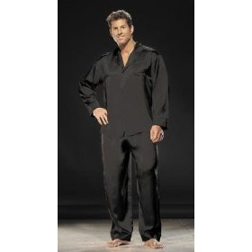 Black Mens Silk Pajamas