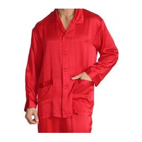 Red Mens Silk Pajamas